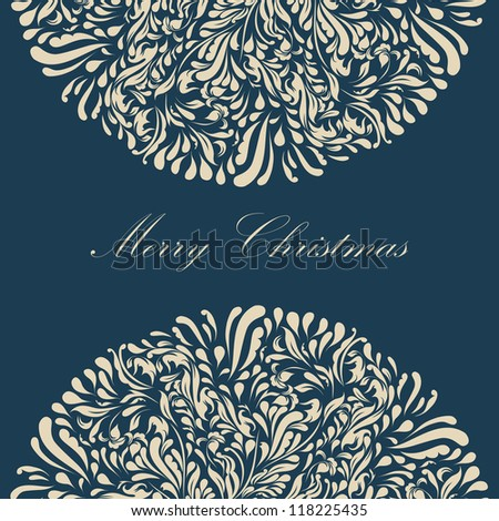 Beautiful blue lace ornament for merry christmas card vector eps 8 - stock vector