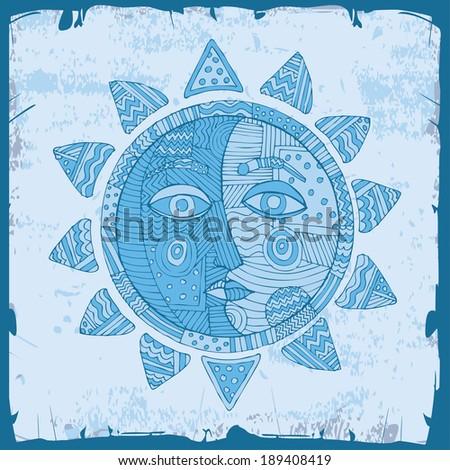 beautiful blue sun with moons on blue sky  - stock vector