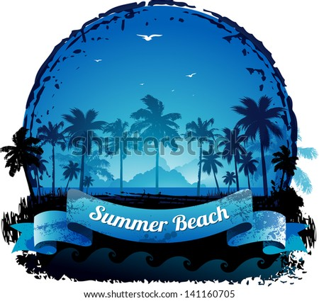 Beautiful blue tropical summer vacation background - stock vector