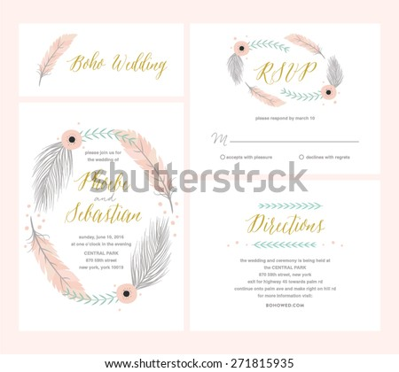 Beautiful boho wedding set illustration - stock vector