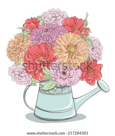 Beautiful bouquet of flowers in watering can isolated on white background. Hand drawn vector illustration - stock vector