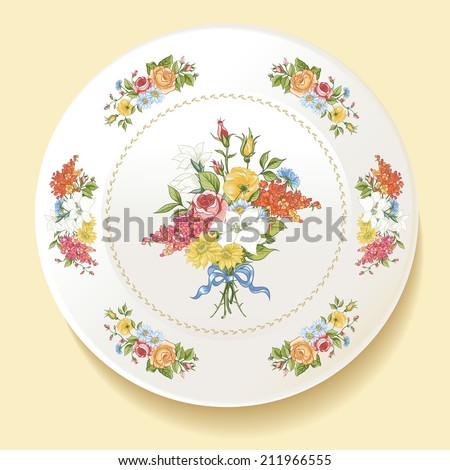 Beautiful bouquet of wildflowers with roses on a white plate in the Baroque style. Vector illustration - stock vector