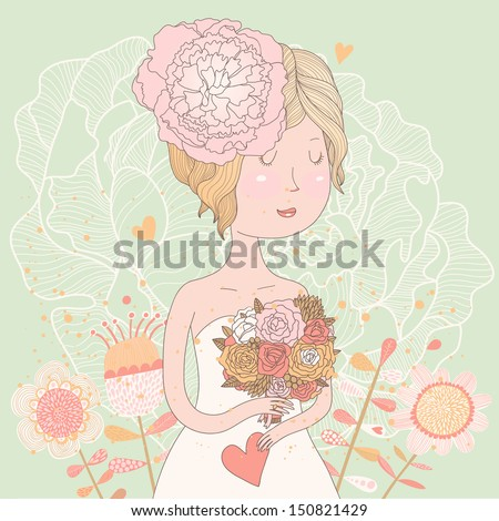Beautiful bride with flowers in vector. Cute invitation card with blonde girl in wedding dress with peony flowers in pastel colors - stock vector