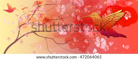 Beautiful bright floral horizontal background with bird