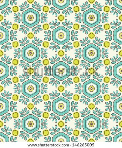 beautiful bright geometric seamless pattern with flowers - stock vector