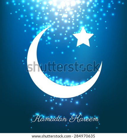 Beautiful Bright Moon And Stars On Blue Background For Ramadan Festival