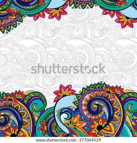 Beautiful bright  pattern. Background with flowers. Ethnic ornament. Template frame design for card. You can place your text in the empty place. - stock vector