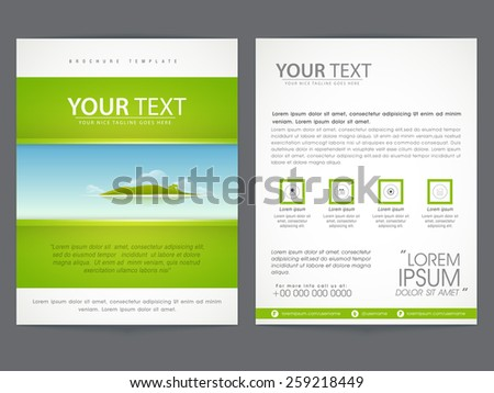 Beautiful brochure, flyer or template design based on Ecological concept, Including front and back page presentation.  - stock vector