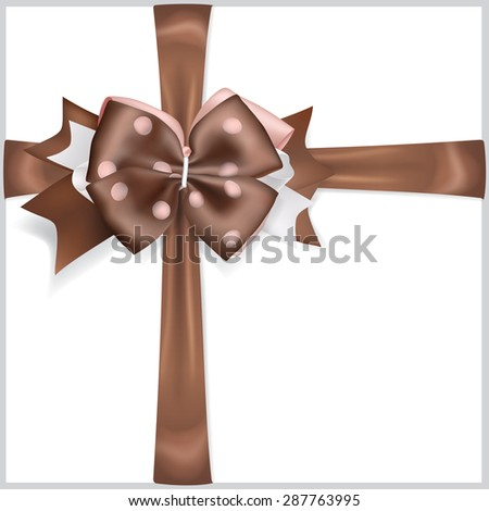 Beautiful brown bow with crosswise ribbons - stock vector