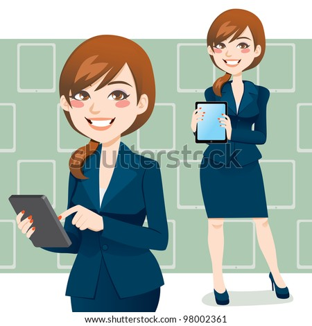 Beautiful brunette business woman using a touch pad tablet portable computer - stock vector