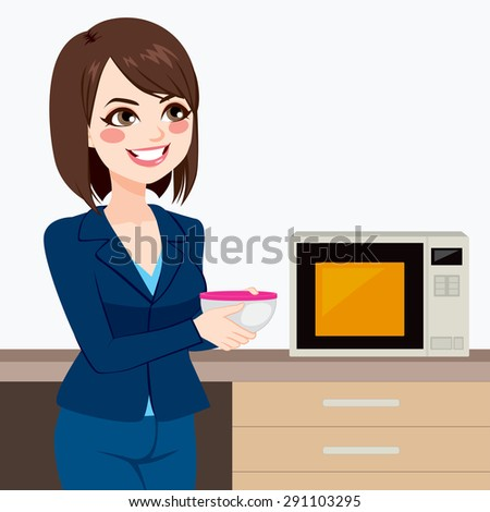 Beautiful brunette businesswoman using microwave to heat homemade food on business office kitchen - stock vector