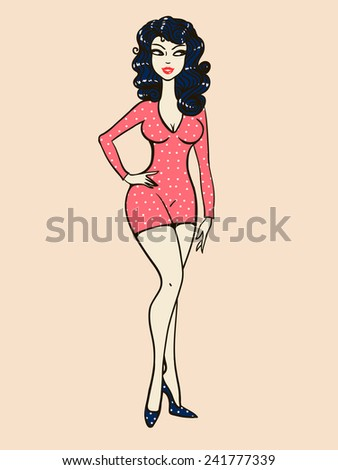 Beautiful brunette girl in a red dress, vector illustration. - stock vector