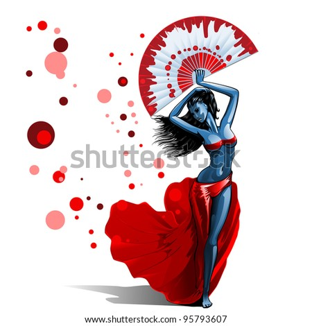 Beautiful brunette girl in red dress dancing holding big fan - stock vector