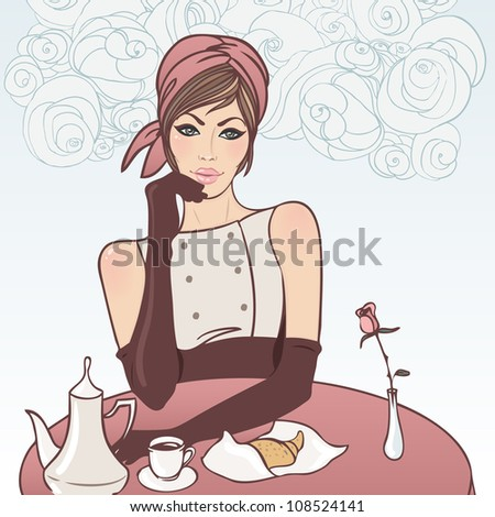 Beautiful brunette girl in the street cafe in the old city drinking coffee. Vector illustration. - stock vector