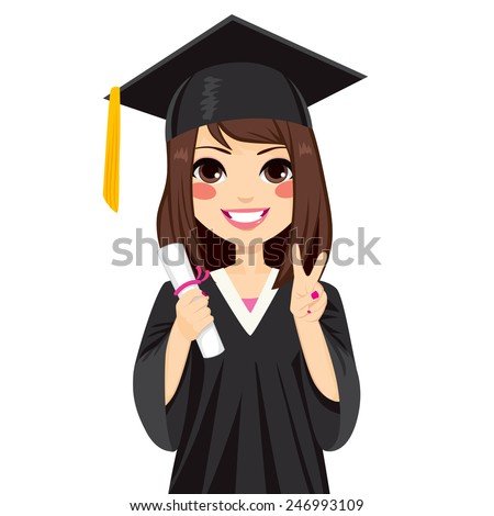 Beautiful brunette girl on graduation day holding diploma and making victory sign hand gesture - stock vector