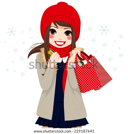 Beautiful brunette girl shopping on Christmas winter day holding credit card and bags full of gifts and presents - stock vector