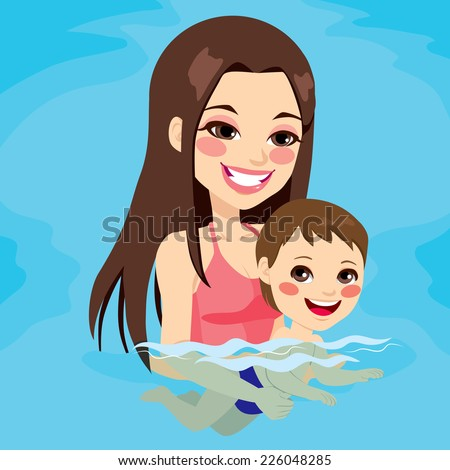 Beautiful brunette mom at swimming pool teaching her baby boy how to swim - stock vector