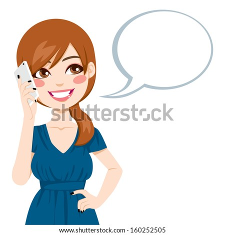 Beautiful brunette talking using her smartphone with a speech bubble - stock vector