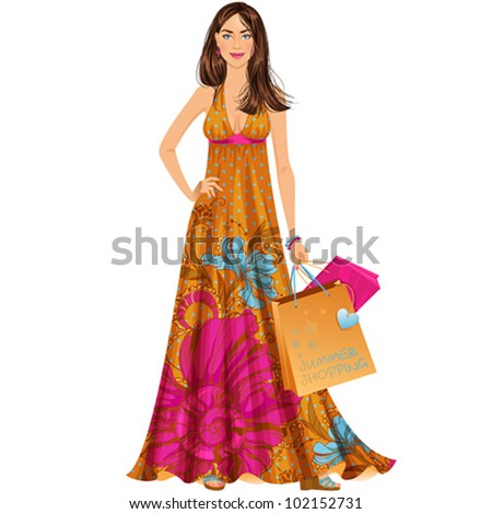 Beautiful brunette woman in summer maxi dress with shopping bags. Isolated vector illustration. - stock vector