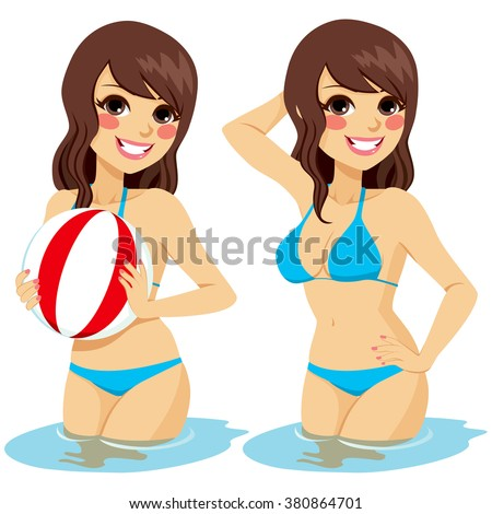 Beautiful brunette woman on two different positions isolated on water holding beach ball and posing - stock vector