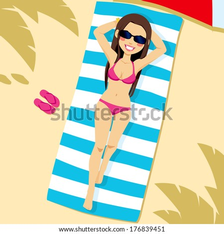 Beautiful brunette woman wearing pink bikini lying on the beach on a white and blue striped towel - stock vector