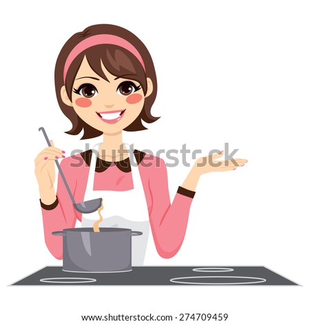 Beautiful brunette woman with apron happy cooking delicious stew - stock vector