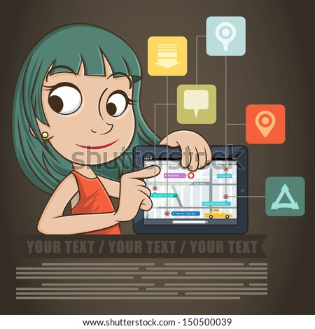 Beautiful business woman show a tablet computer. - stock vector