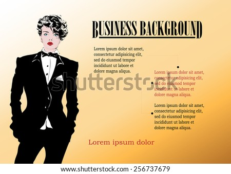 Beautiful businesswoman in a modern black suit - stock vector