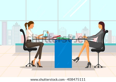 Beautiful businesswoman in corporate meeting. Vector illustration - stock vector
