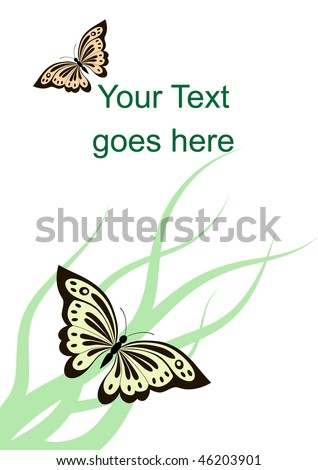 Beautiful butterflies, grass and sample text on card with white background - stock vector