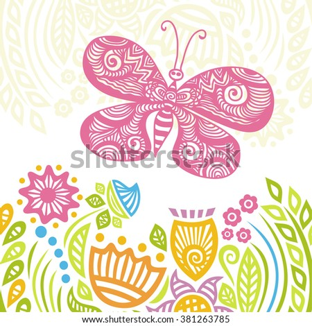 Beautiful butterfly and floral nature pattern background vector illustration - stock vector