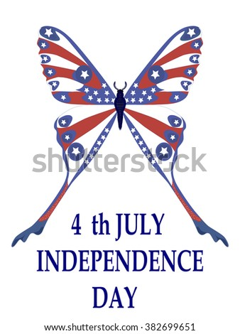 Beautiful butterfly in American national flag color concept for 4th of July Independence Day. Vector illustration. EPS 10 - stock vector
