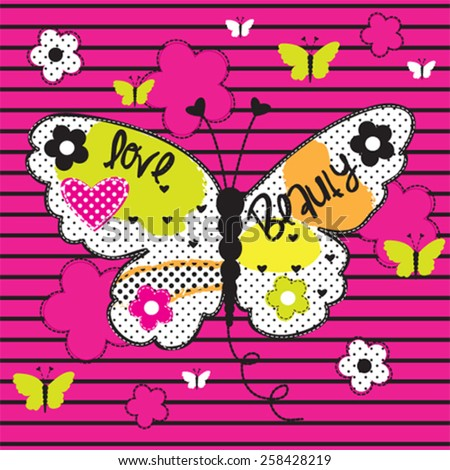 beautiful butterfly on striped background, T-shirt design vector illustration - stock vector