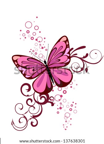 Beautiful butterfly - vector - stock vector