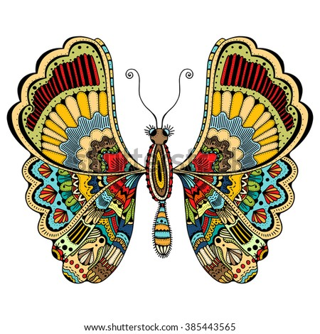 beautiful butterfly. Vector illustration of cute ornate zentangle butterfly - stock vector
