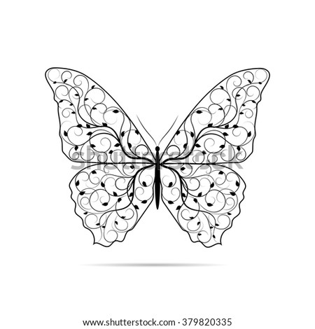 Beautiful butterfly with floral pattern and isolated on white background. - stock vector