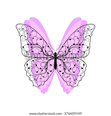 Beautiful butterfly with floral pattern and pink wings isolated on white background. - stock vector