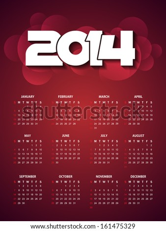 beautiful calender design for new year 2014. vector illustration