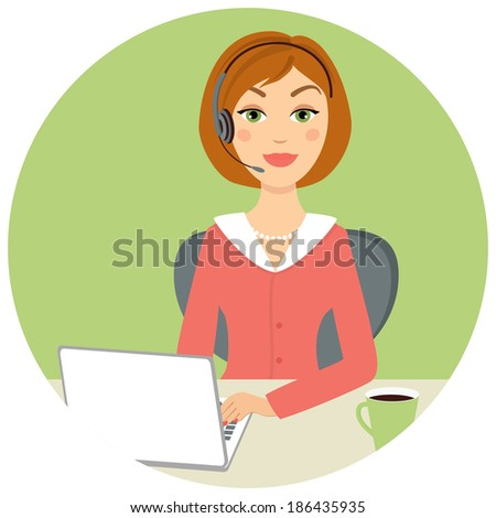 Beautiful call center woman with laptop and headset, vector eps10 illustration - stock vector