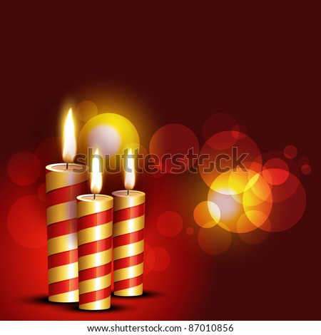 beautiful candles on red background