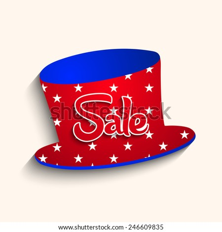 Beautiful cap with sale text for President's day - stock vector