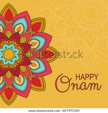 Beautiful Card Banner Or Poster Of A Colourful Rangoli Pookalam For Onam Celebration