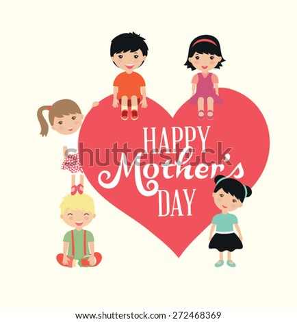 Beautiful card for Mother's Day. Vector illustration - stock vector