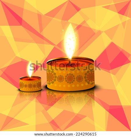 Beautiful card Happy diwali diya reflection colorful background - stock vector