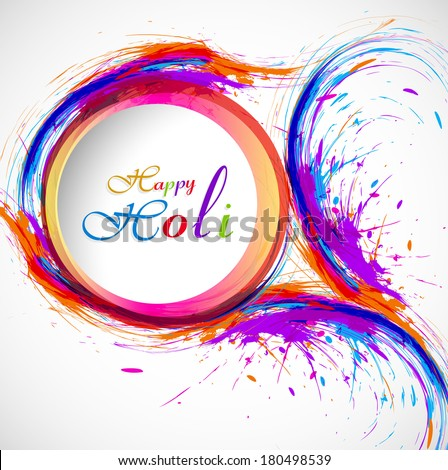 Beautiful card holi festival celebration colorful background  - stock vector