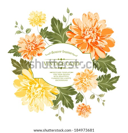 Beautiful card with a  wreath of different color flowers. - stock vector