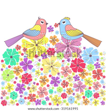 Beautiful card with birds and flowers on a white background - stock vector