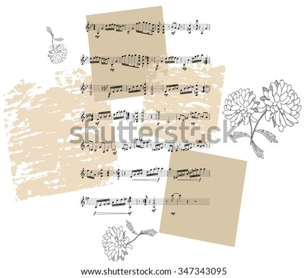Beautiful card with black and white flowers and musical notes on grunge background. Vector illustration. - stock vector