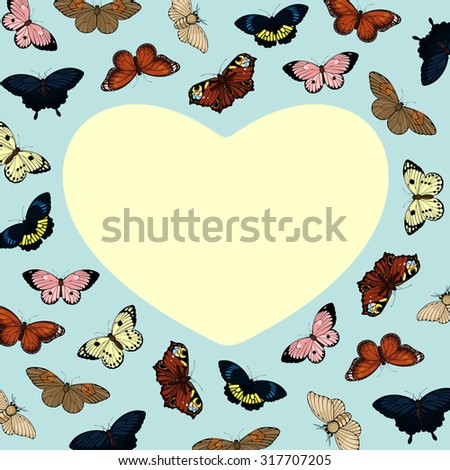 Beautiful card with cute colorful butterflies and heart-shaped place for your text or photo - stock vector
