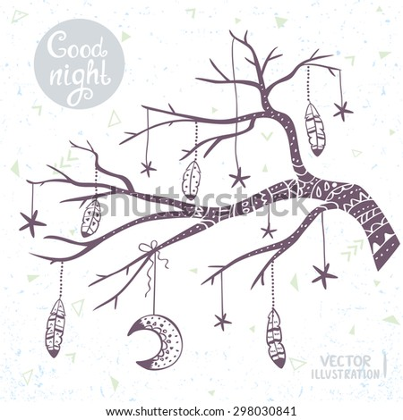 Beautiful card with doodle silhouette tree branch with star, moon and feathers. Stylish illustration in tribal style. - stock vector